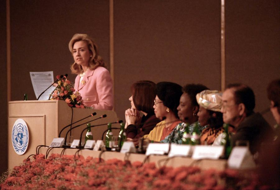 First Lady of the United States Hillary Rodham Clinton during her 1995 speech in Beijing, China