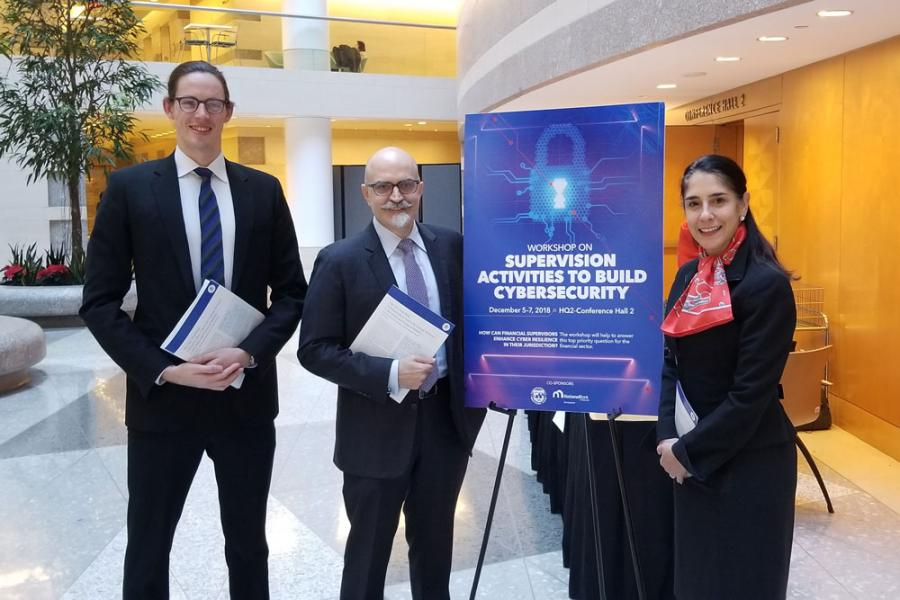 Alex Wortman MIA '18, Jason Healey, and Katheryn Rosen presented a new working paper at the IMF in Washington.