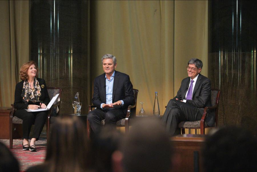 Dean Merit E. Janow, investor Steve Case, and former U.S. Treasury Secretary Jacob Lew