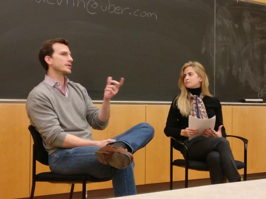 Matthew Devlin, Head of International Policy and Strategy for Uber in conversation with Gemma Torres, student at SIPA