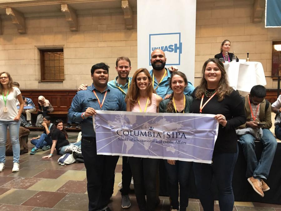Participants from SIPA display school pride at Denmark conference