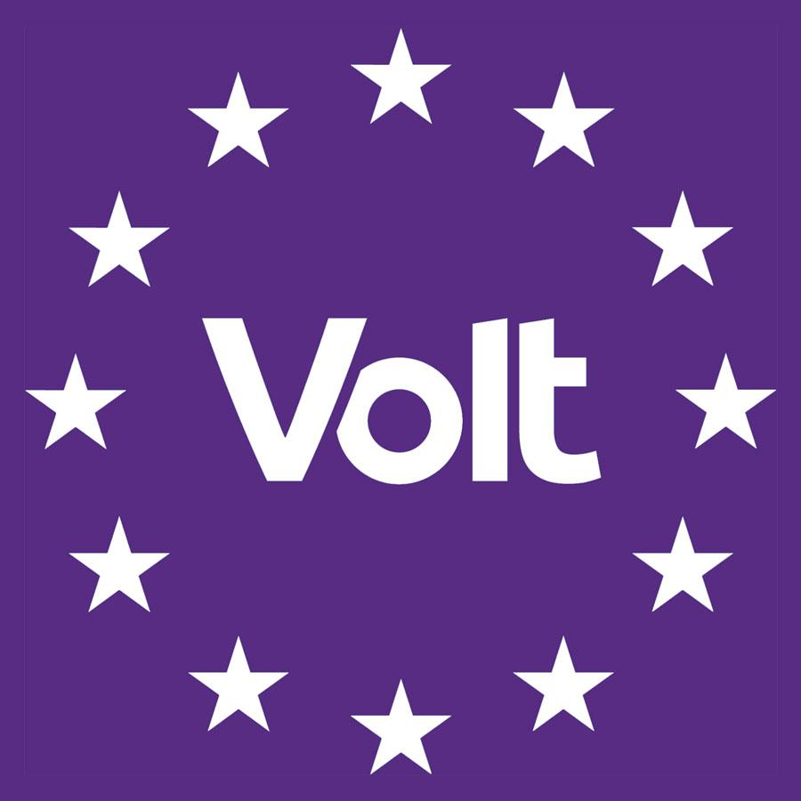 "The Volt Europa logo features the word ""Volt"" in white letters on a purple field, surrounded by 12 stars in a circle representing Europe"