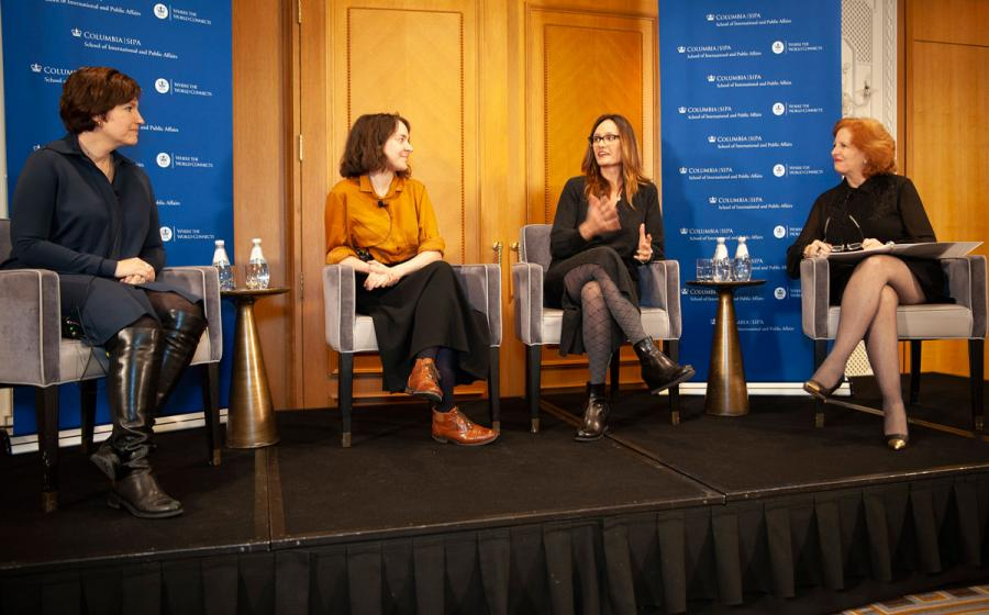 "Susan Glasser of the New Yorker, Soumaya Keynes of the Economist, and Rachel Martin MIA '04 of NPR joined Dean Merit E. Janow to discuss ""Reporting from Washington."""