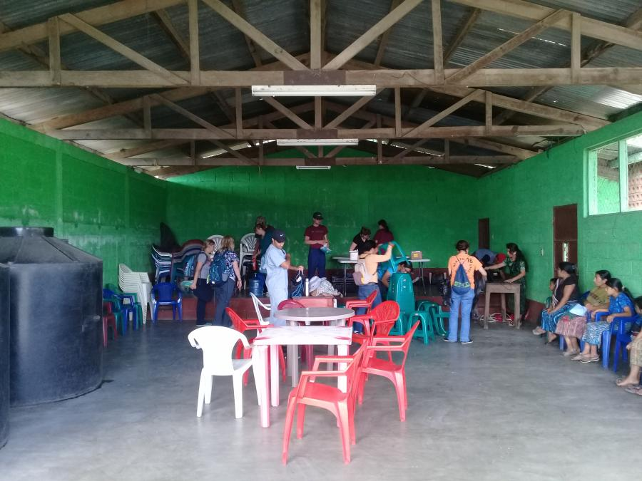 American doctors volunteering at an improvised health post, Guatemala