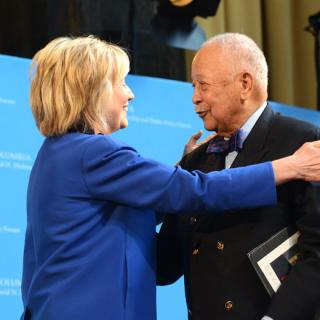 Hillary greets Dinkins
